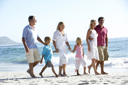 family walking on a beach
